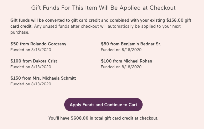 How do I use my group gifting funds? - Babylist Help Center